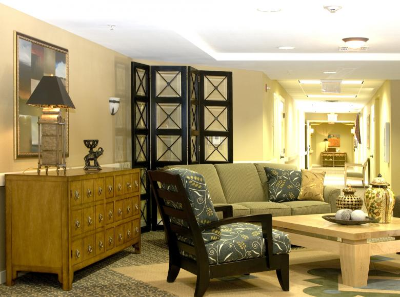 An architectural photo of the interior of a senior living facility.